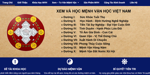 thiết kế website mệnh vận học việt nam